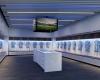 The Sporting Kansas City locker room blends state-of-the-art design with SKC branding.