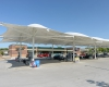 The canopy over the gas islands helps create a distinctive look for The Station Convenience store.