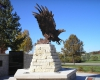 """""""Sovereign Wings"""" sculpture is the focal point."""