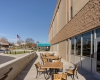 A patio area encourages students and staff to take lunch and learning outside