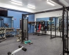 Shared space includes a large fitness facility for fire and police staff