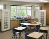 Classrooms are designed to support the school's specialized curriculum needs