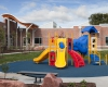 The playground provides a fun play space and helps children develop motor skills