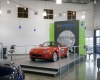 The showroom design showcases the dealership's mix of models