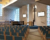 View of new worship center with AV screens
