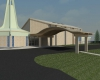 New covered drop off and vestibule