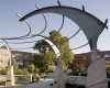 "A striking ""Bearclaw"" metal arbor is part of the design"