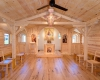 The small chapel creates an intimate space for Mass and prayer.