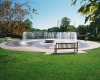 View of new William Jewell College campus fountain
