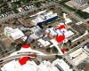 Aerial view showing proposed additions and improvements to the campus